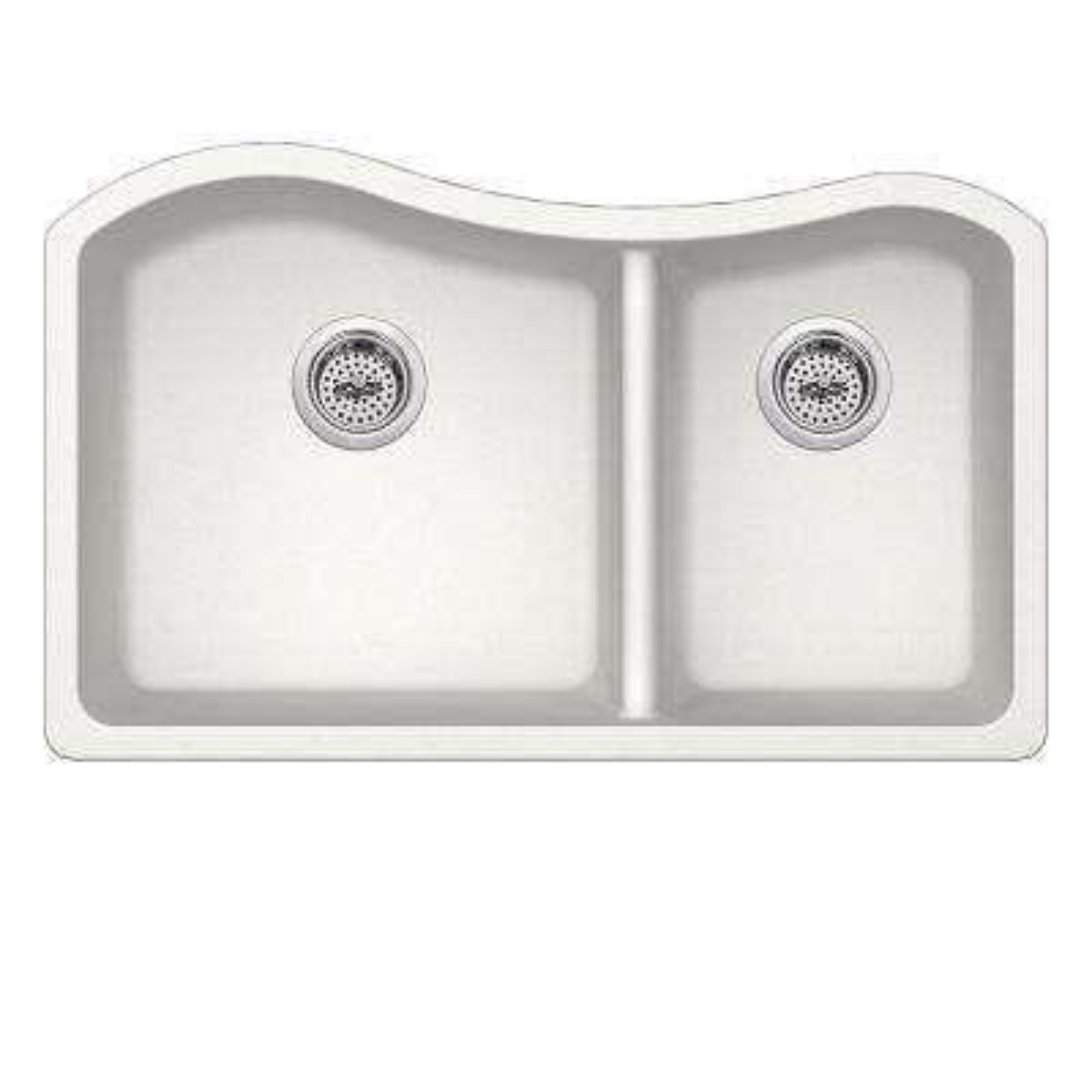 Undermount Quartz 32-1/2 in. 60/40 Double Kitchen Sink in Alpine White