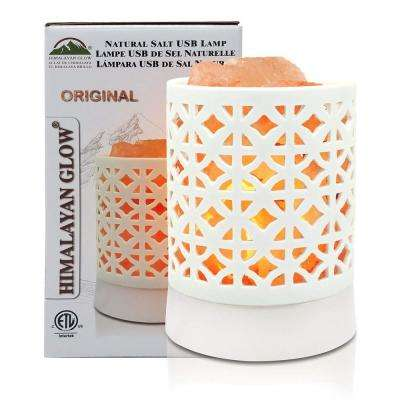5 in. Plastic Base White USB Salt Lamp