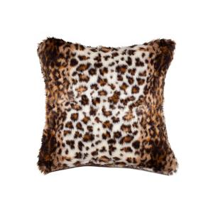 Lynx 18 inch x 18 inch Faux Hide Decorative Pillow by