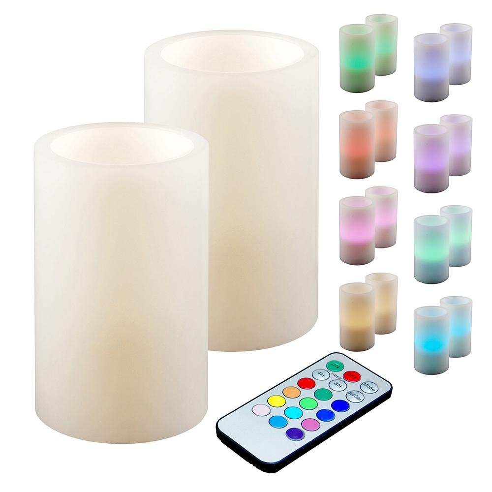Lumabase 3 in. Multicolor Remote Control Candle (Set of 2...