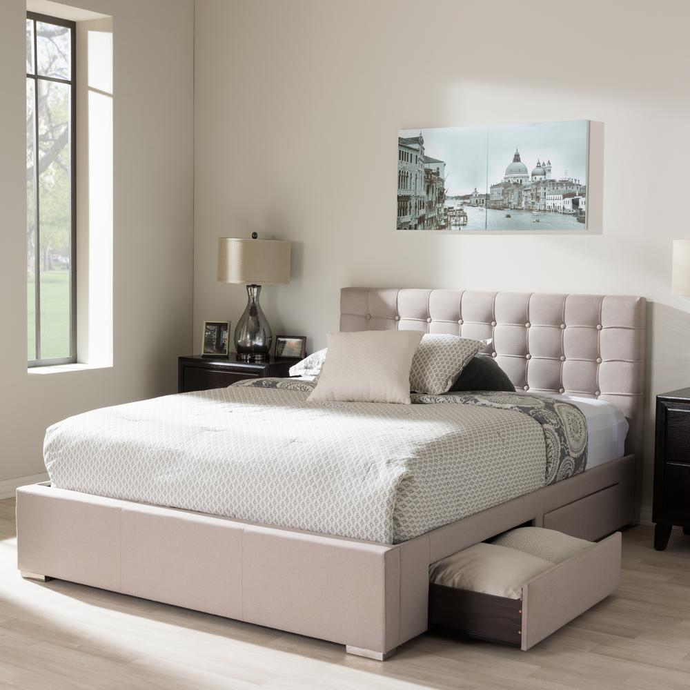 Baxton Studio Rene Beige King Upholstered Bed 28862 7063