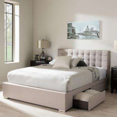 Modern Storage Beige Beds Headboards Bedroom Furniture