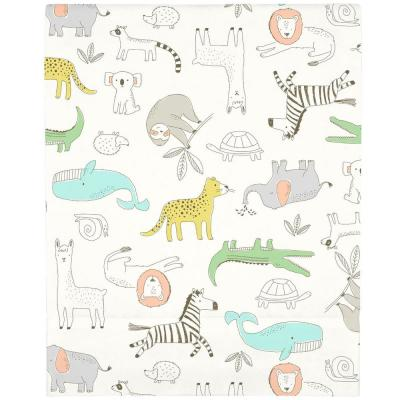 Orange Colorful Zoo Animals Super Soft Mini Fitted Polyester Crib Sheet