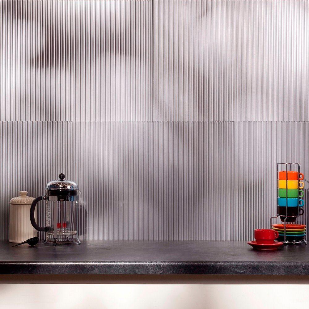 Fasade 24 in. x 18 in. Rib PVC Decorative Backsplash Panel in Argent Silver