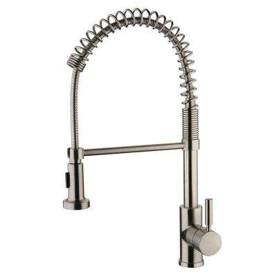 Single-Handle Spring Pull-Out Sprayer Kitchen Faucet in Brushed Nickel