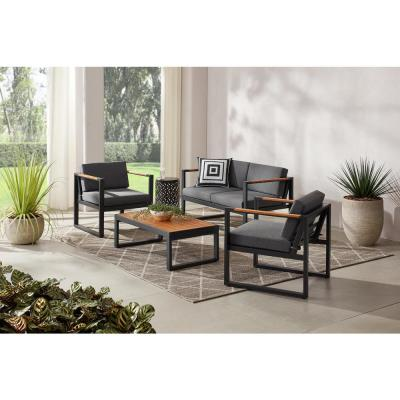 Pinnacle Park 4-Piece Metal Patio Conversation Set with Graphite Cushions