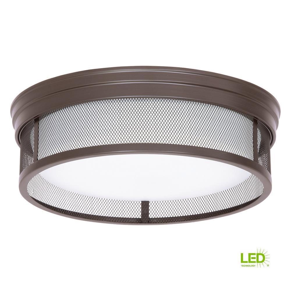 13 in. Merci Collection 1-Light Antique Bronze 17-Watt Integrated LED Flushmount