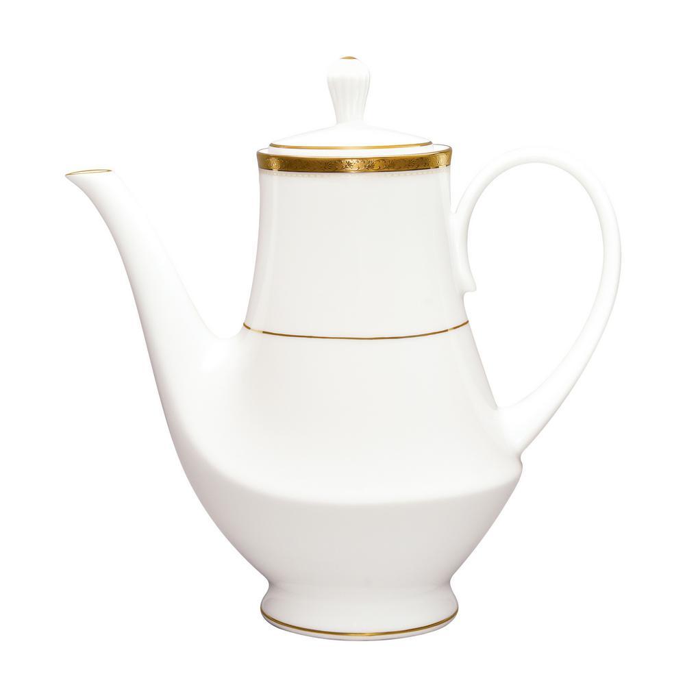 49 oz. Charlotta Gold White Porcelain Coffee Server