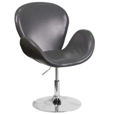Hercules Trestron Series Gray Leather Reception Chair with Adjustable Height Seat