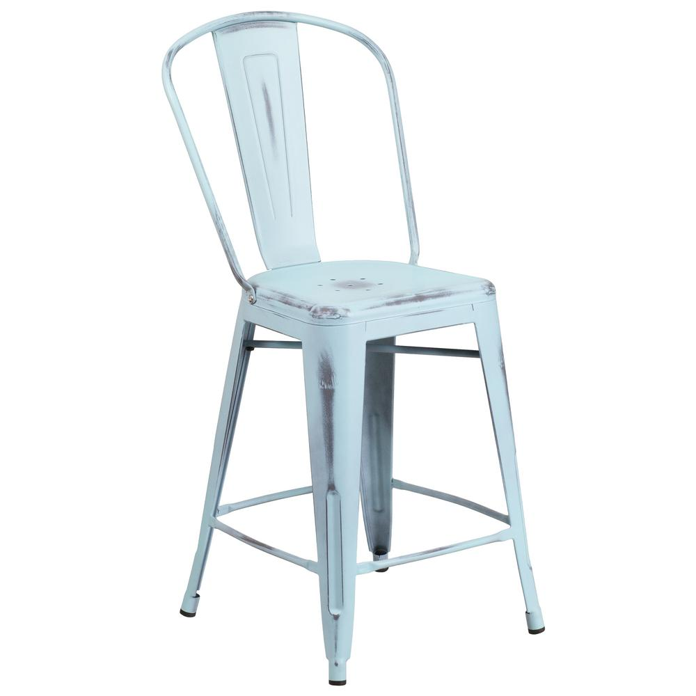 Flash Furniture 24 in. Distressed Blue Bar Stool