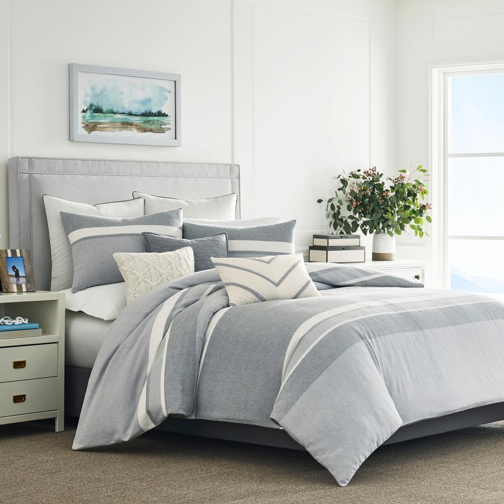 Clearview 3-Piece Grey Cotton Full/Queen Comforter Set