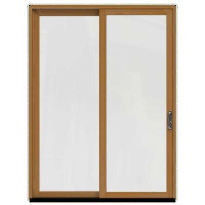 72 in. x 96 in. W-2500 Contemporary Vanilla Clad Wood Right-Hand Full Lite Sliding Patio Door w/Stained Interior