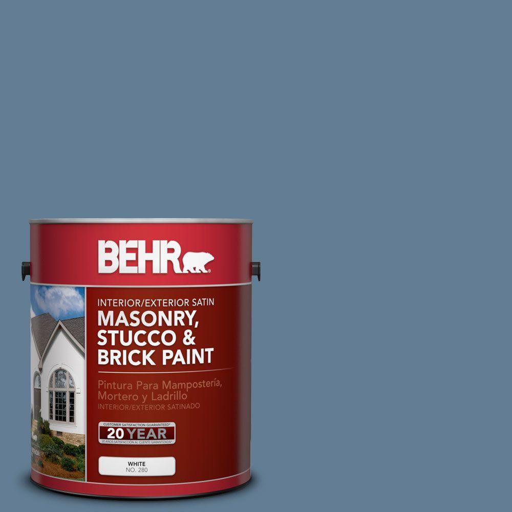 1-gal. #MS-78 Bleached Denim Satin Interior/Exterior Masonry, Stucco and Brick Paint