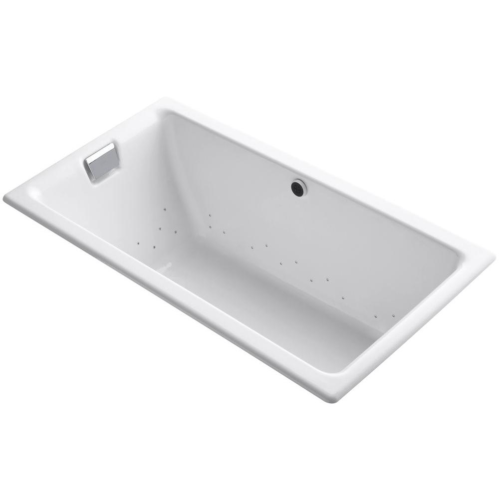 KOHLER Tea-for-Two 5.5 ft. Cast Iron Rectangular Drop-In or Undermount Whirlpool Bathtub in White with Polished Chrome Airjets