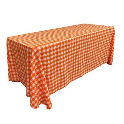 """90 in. x 132 in. White and Orange Polyester Gingham Checkered Rectangular Tablecloth"""