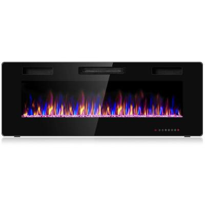 50 in. Recessed Ultra Thin Wall Mounted Heater Electric Fireplace in Black