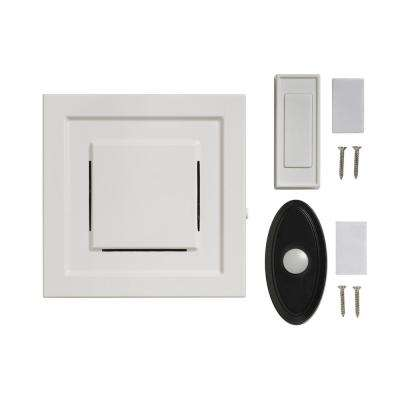 White 85 dB Wireless Plug-In Door Bell Kit with 1-Push Button with Black Wireless Door Bell Push Button