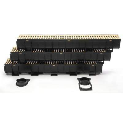 Easy Drain Series 5.4 in. W x 5.4 in. D 39.4 in. L Trench and Channel Drain Kit in Black with Sandstone Grate (3-Pack)