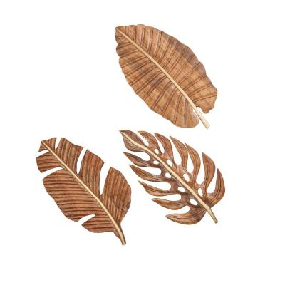 Litton Lane 24 in. x 12 in. Each Large Carved Natural Wood Leaf Wall Decor (Set of 3)