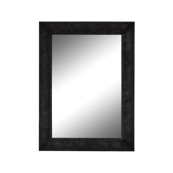 Flat Iron 43.25 in. x 55.25 in. Industrial Rectangle Framed Black Vanity Wall Mirror