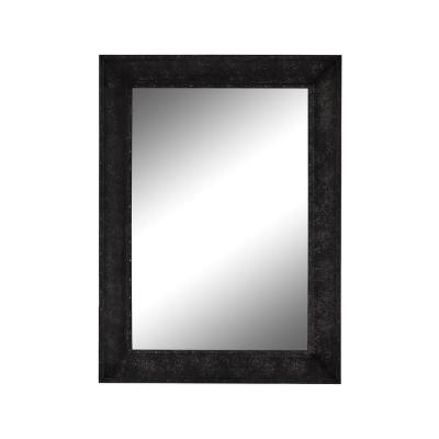Flat Iron 35.25 in. x 35.25 in. Industrial Square Framed Black Vanity Wall Mirror