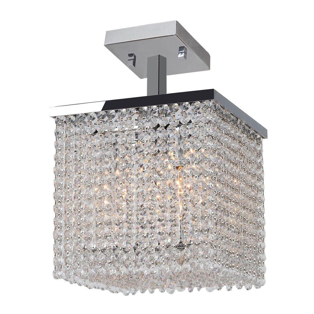 Worldwide Lighting Prism Collection 4-Light Chrome Ceiling Light