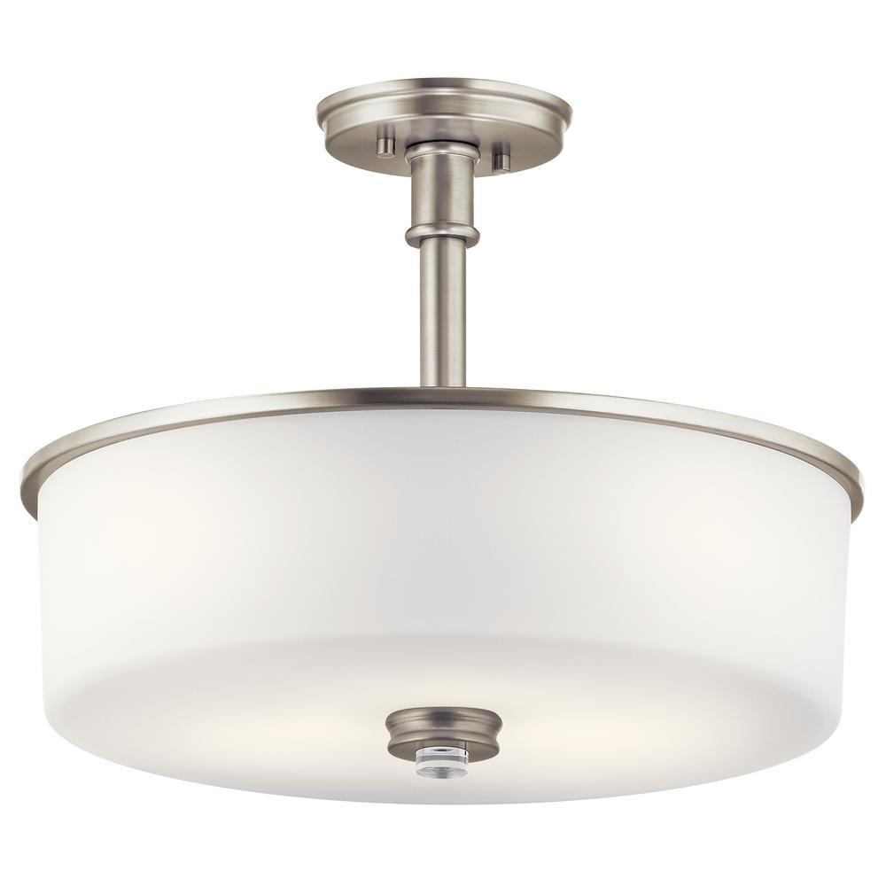 Joelson 3-Light Brushed Nickel Convertible Drum Pendant Light/Semi Flush