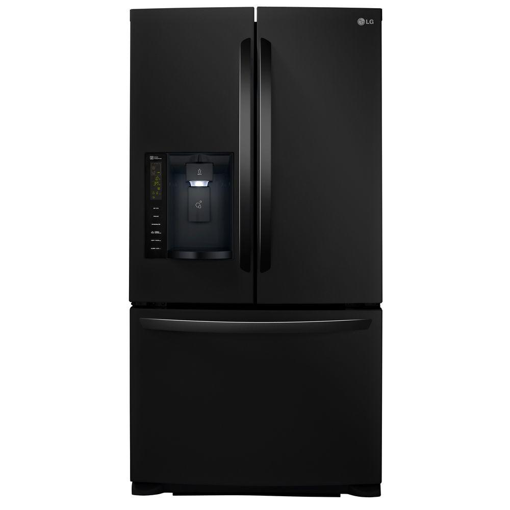 LG 24.1 cu. ft. French Door Refrigerator in Black, Smooth...