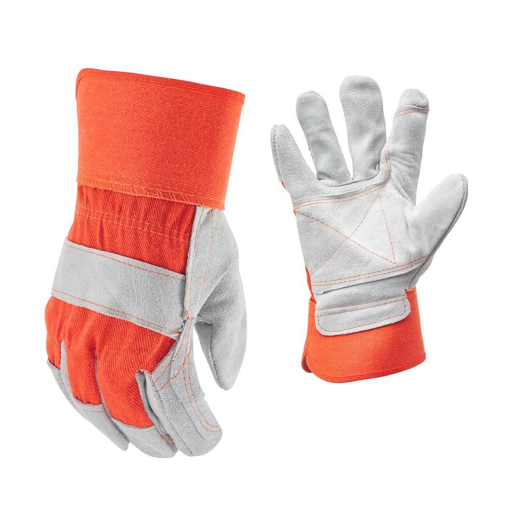Orange Suede Cowhide Leather and Denim Large Work Gloves