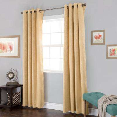 Blackout Mila Antique Gold Polyester Black Out Curtain 54 in. W x 84 in. L