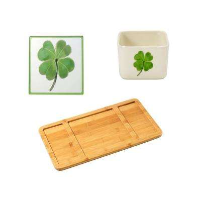Bamboo Cheese Board, St. Patrick's Day Glass Cutting Board and Square Porcelain St. Patrick's Day Appetizer Bowl