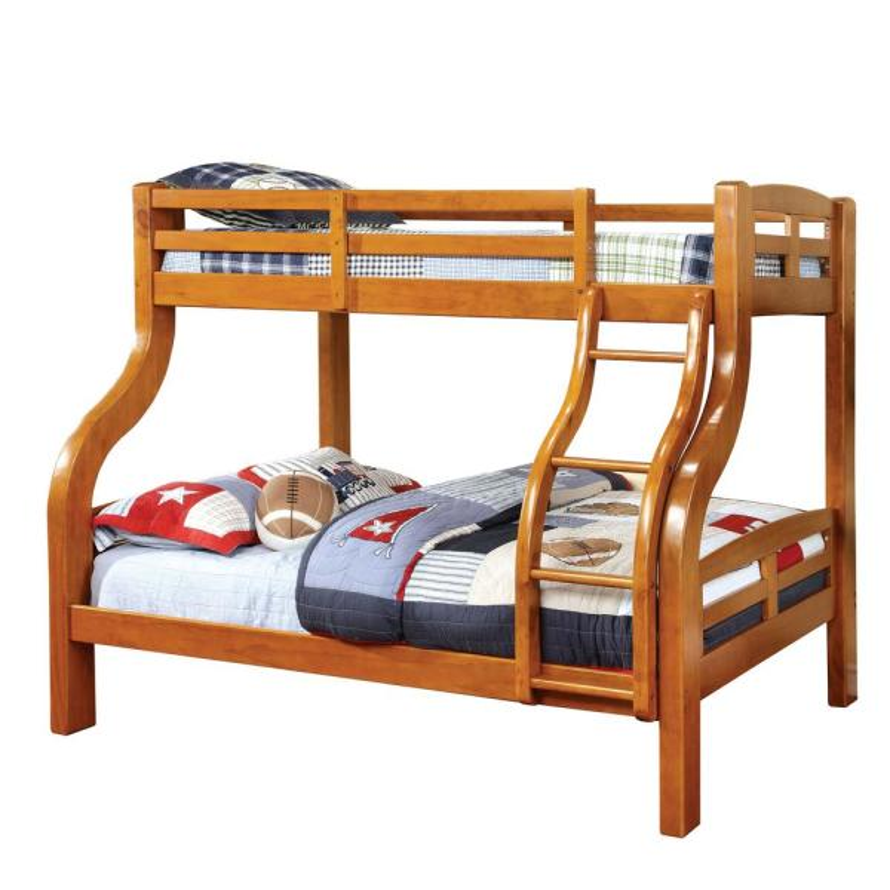 Amiel Oak Twin Over Full Bunk Bed