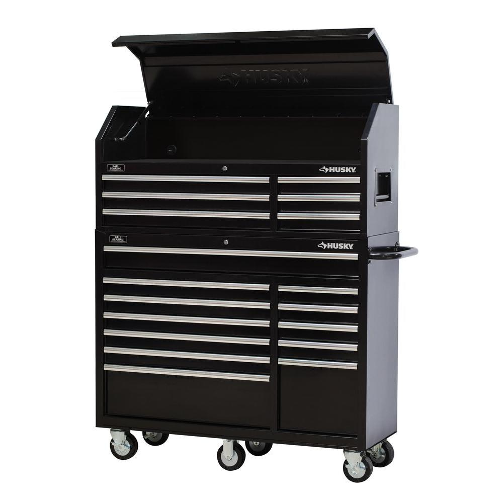 18 Drawer Tool Chest And Rolling Tool Cabinet Set, Black
