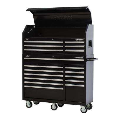 52 in. 18-Drawer Tool Chest and Rolling Tool Cabinet Set in Black