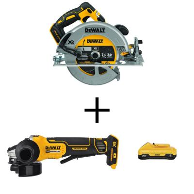 20V MAX 7-1/4 in. Li-Ion Cordless Circular Saw (Tool-Only) w/20V 4-1/2 in. Angle Grinder(Tool-Only) and 20V 4 Ah Battery