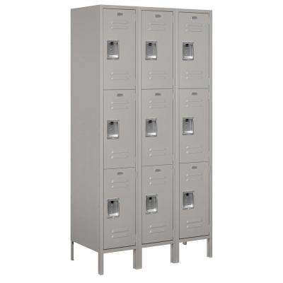 53000 Series 45 in. W x 78 in. H x 18 in. D Triple Tier Extra Wide Metal Locker Unassembled in Gray