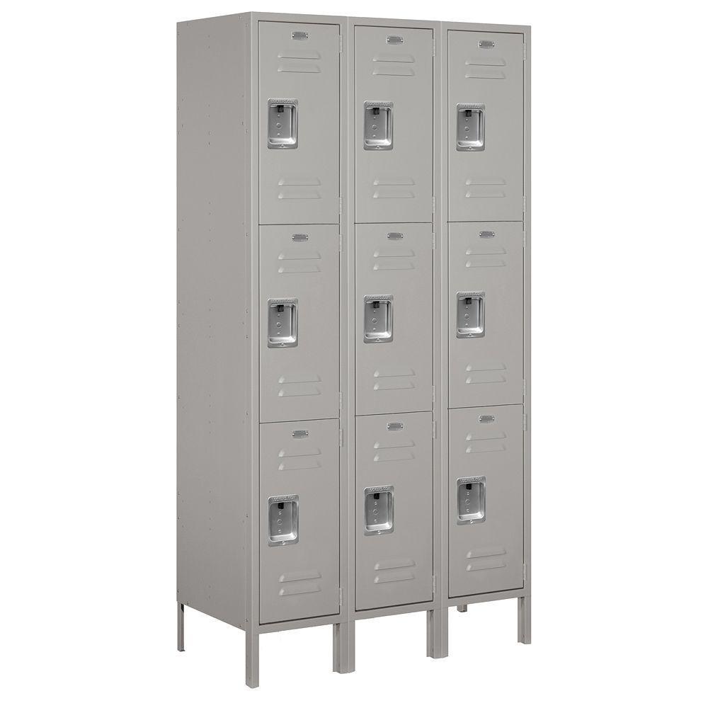 Salsbury Industries 53000 Series 45 in. W x 78 in. H x 18 in. D Triple Tier Extra Wide Metal Locker Unassembled in Gray