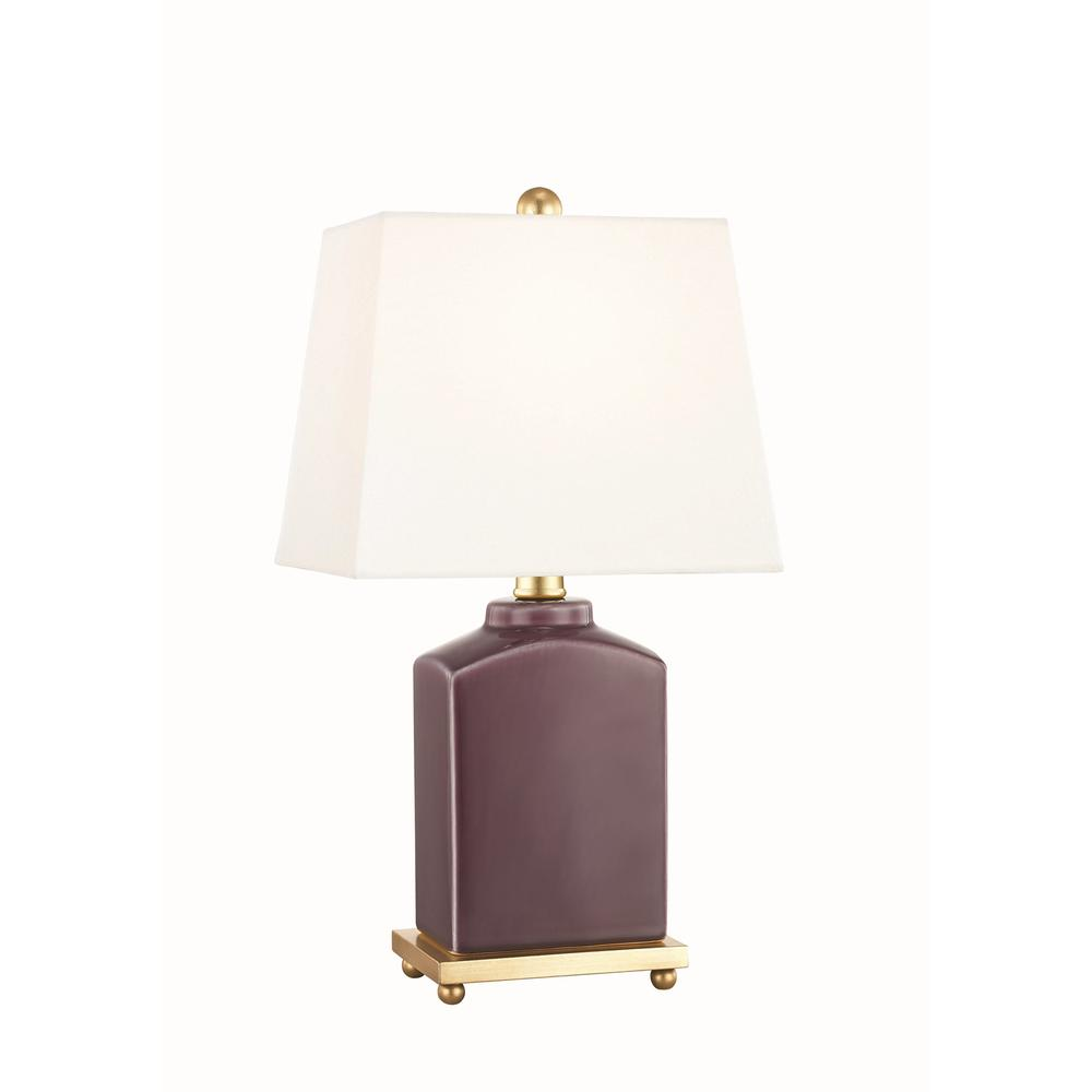 Mitzi by Hudson Valley Lighting Brynn 17 in. High Plum Table Lamp with Off White Linen Shade