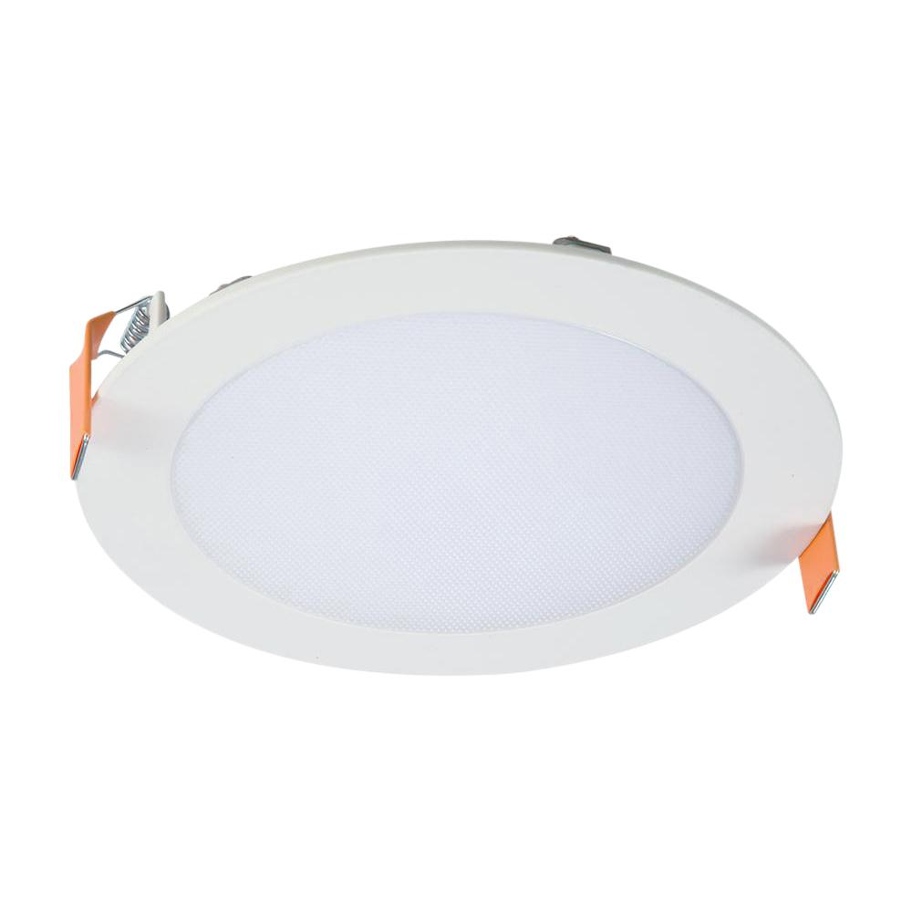Halo Hlb 6 In White Round Integrated Led Recessed Light Direct Mount Kit With Selectable Cct 2700k 5000k No Can Needed