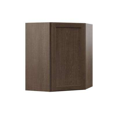 Shaker Assembled 24x30x12 in. Diagonal Corner Wall Kitchen Cabinet in Brindle