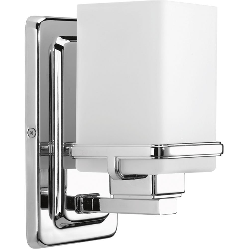 chrome bathroom sconces. Perfect Sconces Progress Lighting Metric Collection 1Light Polished Chrome Bath Sconce  With Etched White Glass Shade With Bathroom Sconces