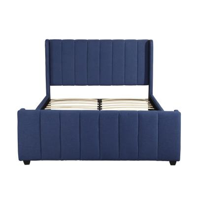 Antoinette Traditional Queen-Size Navy Blue Fully Upholstered Bed Frame
