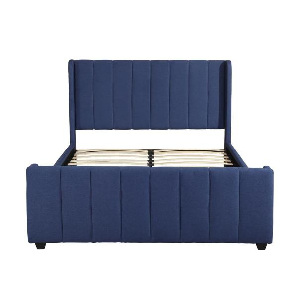 Noble House Antoinette Traditional Queen-Size Navy Blue Fully Upholstered Bed