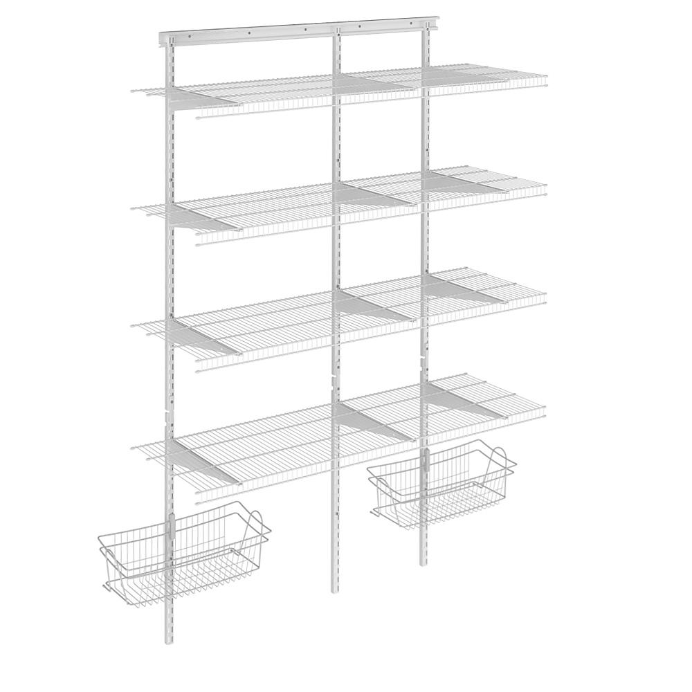 ClosetMaid Shelftrack 16.75 in. D x 56.50 in. W x 84 in. H White Wire Adjustable Pantry Closet Kit with Baskets