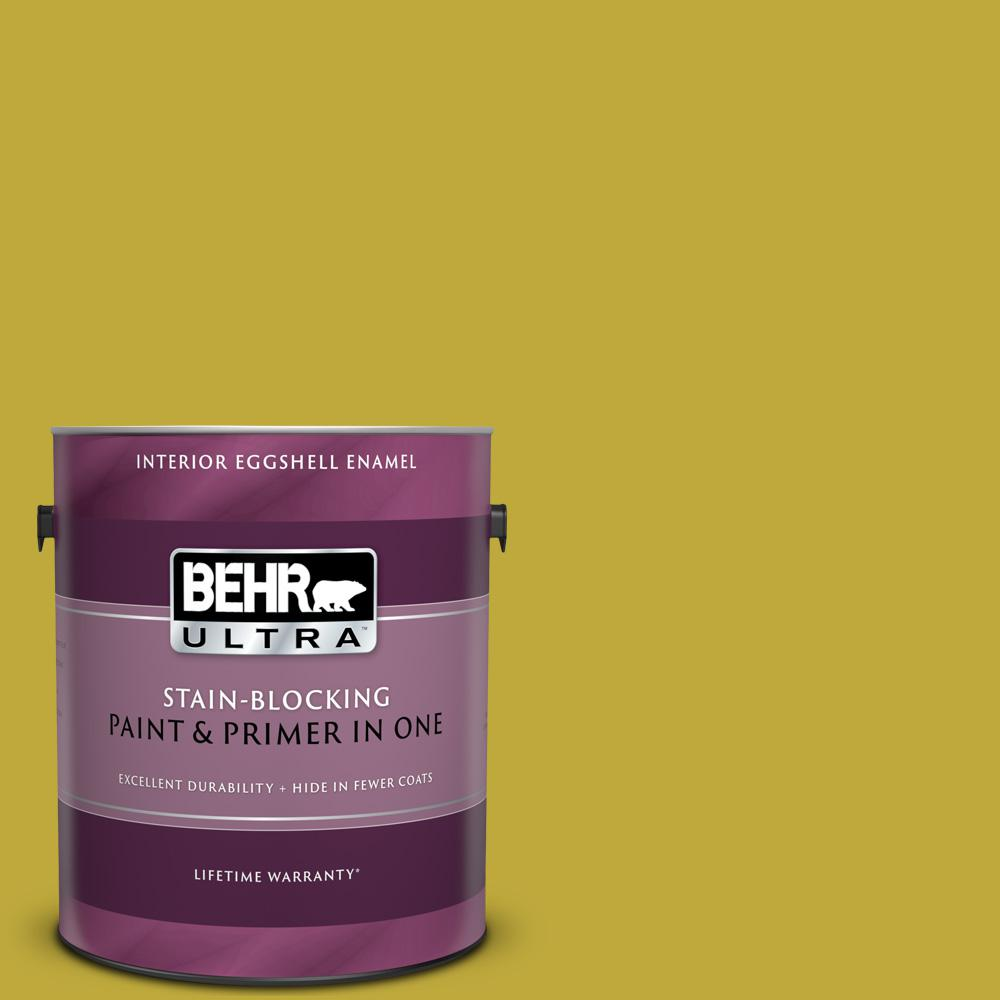 Behr Ultra 1 Gal P330 6 Margarita Eggshell Enamel Interior Paint And Primer In One 275301 The Home Depot