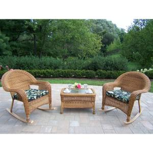 Natural Wicker 3-Piece Outdoor Bistro Set with Black Floral Cushions by