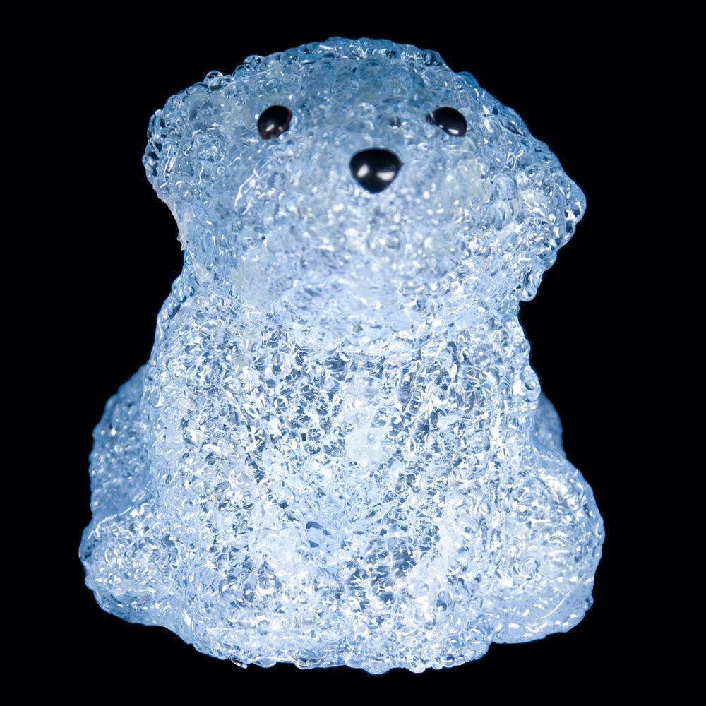 XEPA 6 in. Decorative Blue Baby Bear Sitting LED Light