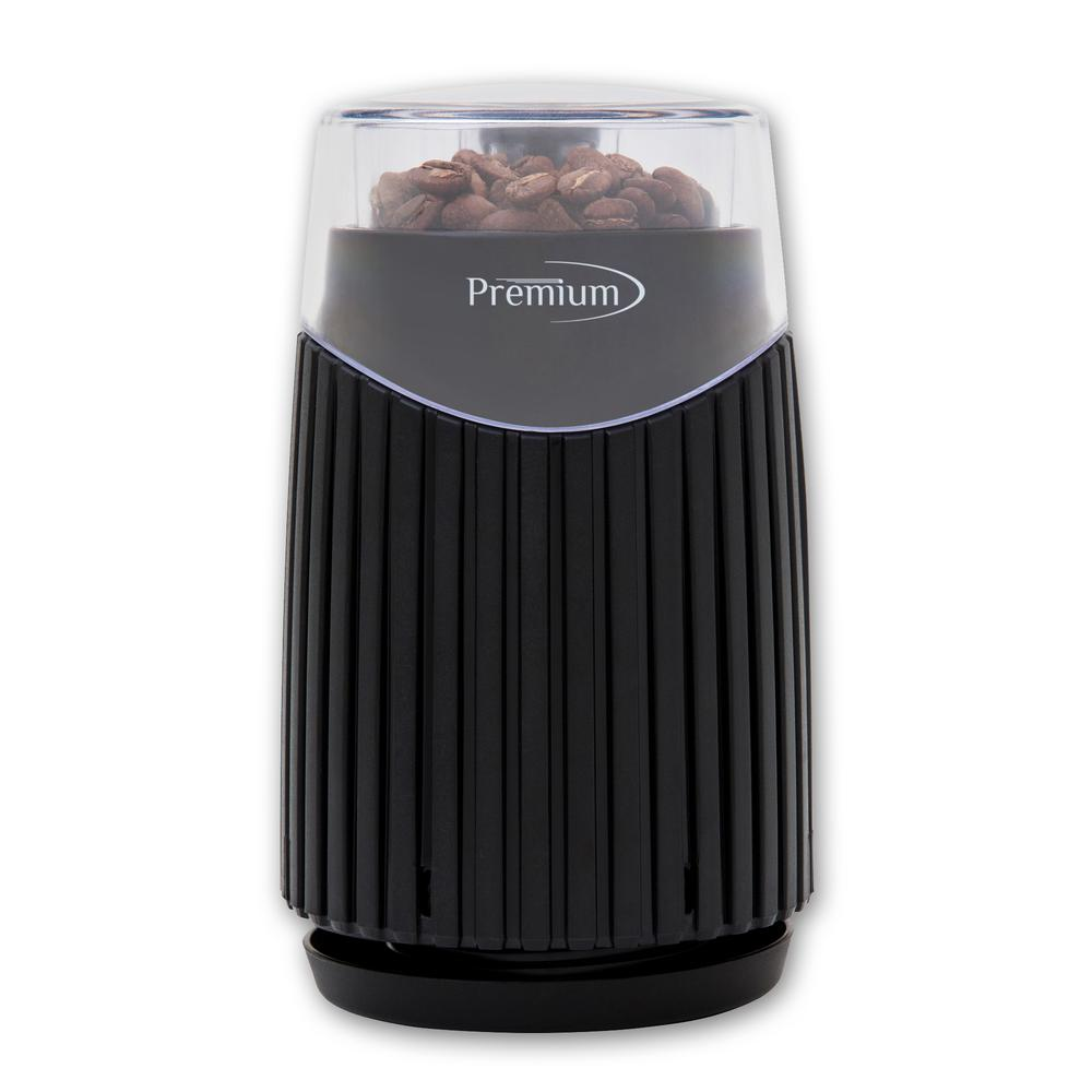 1.8 oz. Coffee Grinder, Black PREMIUM's 1.8 oz. Coffee Grinder provides top quality processing of your favorite coffee varieties. With the ability to grind beans for up to 6 Cups of Coffee, you can easily prepare enough beans for the whole family in one batch. The Stainless-Steel Blade has a unique  W  shape, which reduces waste by not missing a single bean. With a powerful 150-Watt motor, it grinds beans quickly and deposits them in a Durable Stainless-Steel Bowl. The Clear Top Cover allows users to see the beans during processing, and the One-Touch Control makes operation straightforward. Color: Black.