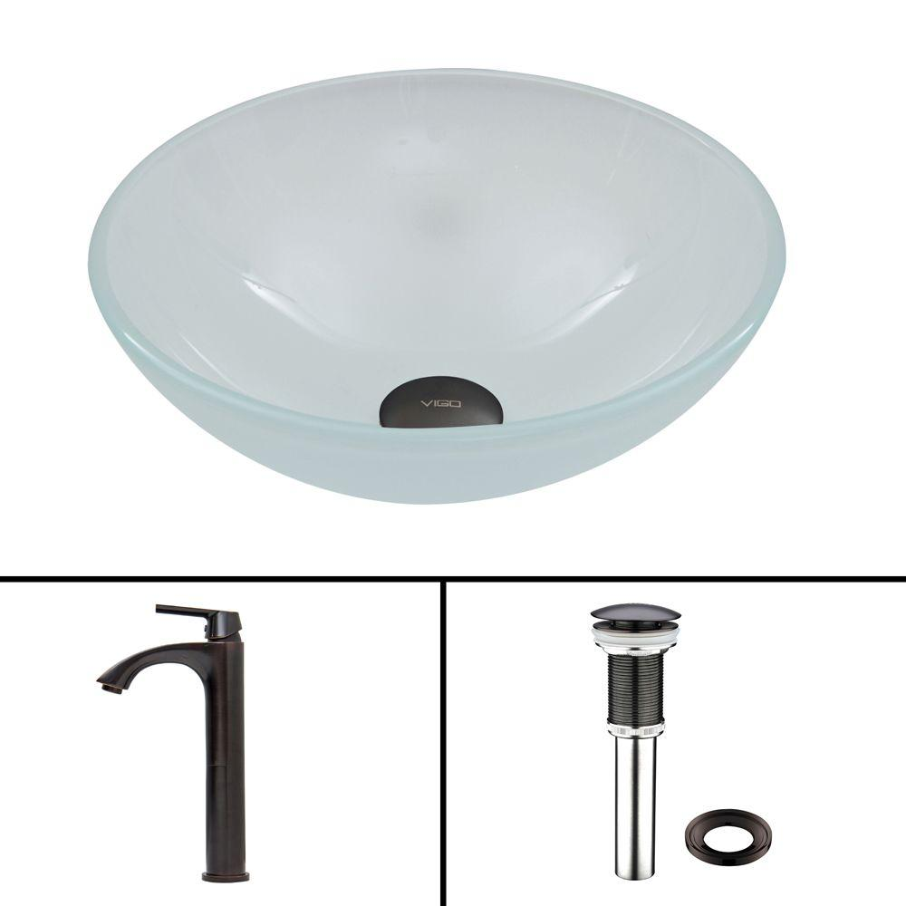Glass Vessel Sink in Flat Edged White Phoenix Stone and Linus