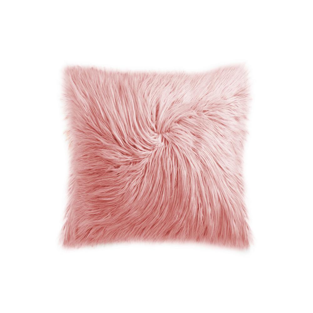 Frisco Mongolian Dusty Rose 20 in. x 20 in. Faux Sheepskin Fur Pillow